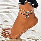 Simsly Cavigliera in cordoncino intrecciato con perline e ciondolo a forma di tartaruga marina, bracciale, accessorio per piede, gioiello regolabile per donne e ragazze, JL-120
