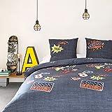 90´S PATCH - Parure de lit pour 2 personnes : Housse de couette 240x220 cm + Taies d'oreiller 65x65 cm