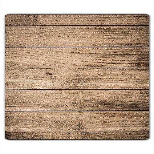 decorwelt | Herdabdeckplatte 60x52 cm Ceranfeldabdeckung 1-Teilig Universal Elektroherd Induktion für Kochplatten Herdschutz Deko Schneidebrett Sicherheitsglas Spritzschutz Glas Holz - Arbeitsplatte Herd