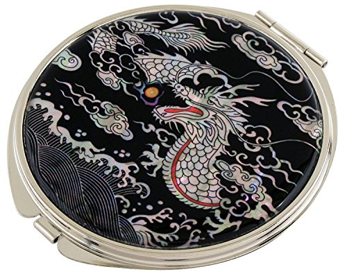 Mother of Pearl Dragon Design Double Compact Magnifying Cosmetic Makeup Purse Beauty Pocket Mirror by JMcore Makeup Mirror