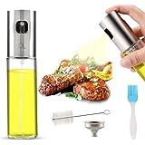 AJOXEL Pulvérisateur d'huile d'olive, Vaporisateur Huile d'olive 100ml en Acier Inoxydable et Verre Bouteille d'huile Huile/Vinaigre Distributeur pour la Cuisine,Salade,Sauce de Soja,Griller