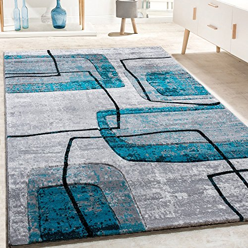 Paco home tappeto di design taglio sagomato motivo rétro in grigio nero turchese mélange, dimensione:120x170 cm