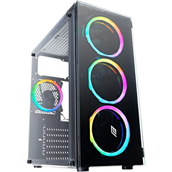Noua Nexus P3 Black Case ATX per PC Gaming 4 Ventole Dual Halo RGB Rainbow Front Tempered Glass 0.50MM SPCC 3*USB3.0/2.0 Pannello Laterale in Vetro Temperato (AxPxL: 420x370x185 mm)