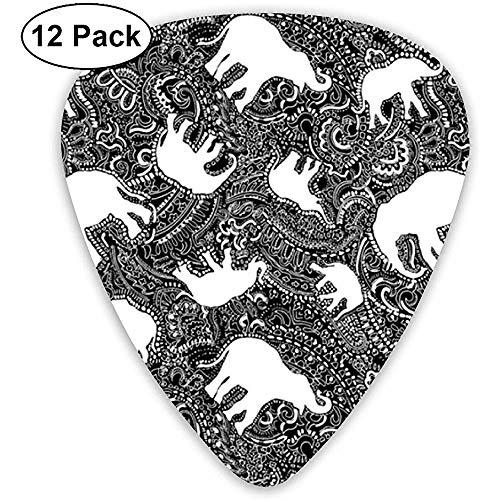 Elephant Paisley Small Black And White Plektren 12er Pack - 3 verschiedene Größen, einschließlich dünn, mittel und schwer -