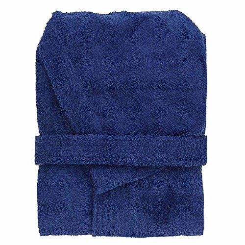 Accappatoio con Cappuccio in Spugna 100% Cotone Tinta Unita Uomo Donna Unisex Mastro Bianco (XL, Azzurro)