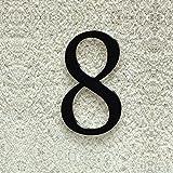 Colours-Manufaktur Hausnummer Nr. 8 - Schriftart: Klassisch - Höhe: 20-30 cm - viele Farben wählbar (RAL 9005 tiefschwarz (schwarz) glänzend, 20 cm)