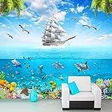 Ohcde Dheark Benutzerdefinierte Fototapete Sailing Dolphin 3D-Unterwasserwelt Cartoon Bild Wohnzimmer Kinderzimmer Deko