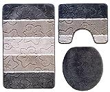 Ilkadim Orion Badgarnitur 3 tlg. Set 50x80 cm Mehrfarbig Gestreift, WC Vorleger mit Ausschnitt für Stand-WC (Dunkelgrau Grau)