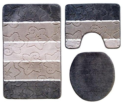 Orion Badgarnitur 3 tlg. Set 50x80 cm grau dunkel grau WC Vorleger mit Ausschnitt geprüft nach OEKO-TEX Standard 100