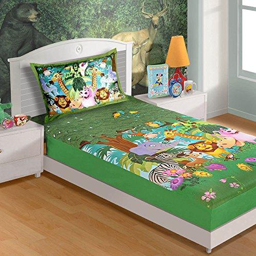 Jungle animali Doppia Bedding Set per le ragazze - Include Foglio e federa con Pink Digital Print - 100% del tessuto di