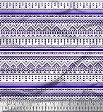 Soimoi Azul Jersey de algodon Tela azteca geometrico tela estampada de costura de tela 58 Pulgadas de ancho