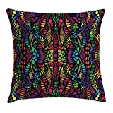 Abstract Throw Pillow Cushion Cover, Trippy Contrast Tones Featured Fractal Forms Creative Colorful Effects Graphic Art,