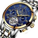 LIGE Herren Uhren Wasserdicht Edelstahl Automatisch Mechanisch Gold Band Blau Zifferblatt 9851