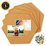 hangnuo 5 Pack Cork Fliesen, selbstklebend, mit 80 PCS Pinnadeln, Mini Wand Sechseck Bulletin Boards für Bilder, Notizen, Home Decor und Büro Memo