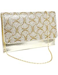 Anladia Sac a Main Chaine Pochette Soiree Plat Enveloppe Vague Diamant Brillant