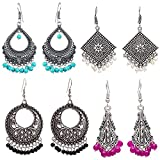 #2: Om Jewells Fashion Jewellery Antique Rhodium Plated Dangler and Jhumka styled Earrings Combo for girls and women CO1000136