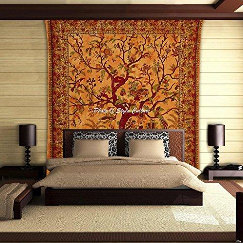 coltura-stylo-culture-mandala-tapestry-cotone-giallo-maroon-queen-stampato-tie-dye-copriletto