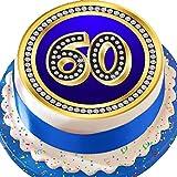Tortenaufleger, vorgeschnitten, Essbar, aus Zuckerguss, 19,1cm, Größe L, rund, blau, zum 60. Geburtstag, mit Diamant-Bordüre