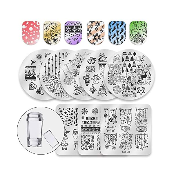 Biutee 8pcs Placas Estampacion Uñas Stamping Nail Art 2019 Estampa Uñas + 1 Sello de Cabeza Doble