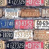 NOVELY® HANAU Rocky Polsterstoff Möbelstoff Bezugsstoff USA Nummernschild Amerika (Rocky 62)