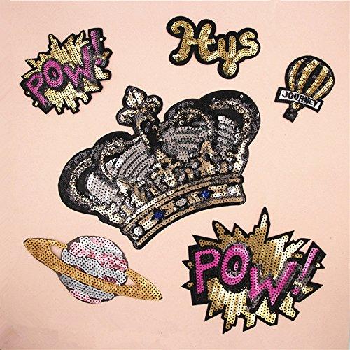 6 parches XL termoadhesivos lentejuelas y bordados corona mix super guays para cazadoras, pantalones, zapatillas, ropa, estuches, gorros, abrigos, mochila scrapbooking, costura.. de OPEN BUY