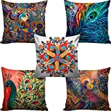 B7 CREATIONS Canvas Digital Printed Jute Cushion Cover(16x16-inch, Multicolour) - Set of 5