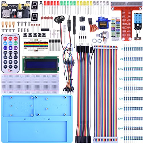 BONROB Raspberry Pi Starter Learning Kit with GPIO Expansion Board LCD RGB, Breadboard Infrared Remote Control for Raspberry Pi 3B+ 3B 2B A+ Zero BS002 (Python-starter-kit)