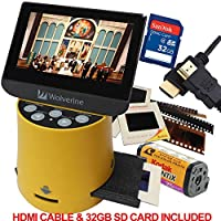 "Wolverine Titan 8-in-1 20MP High Resolution Film to Digital Converter with 4.3"" Screen and HDMI output, Worldwide Voltage 110V/240V AC Adapter, 32GB SD Card & 6ft HDMI Cable (Bundle)"