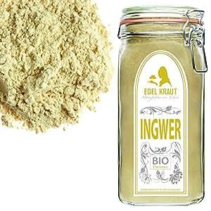 EDEL KRAUT   BIO INGWER GEMAHLEN im Premium GLAS - Ginger Powder Organic 500g