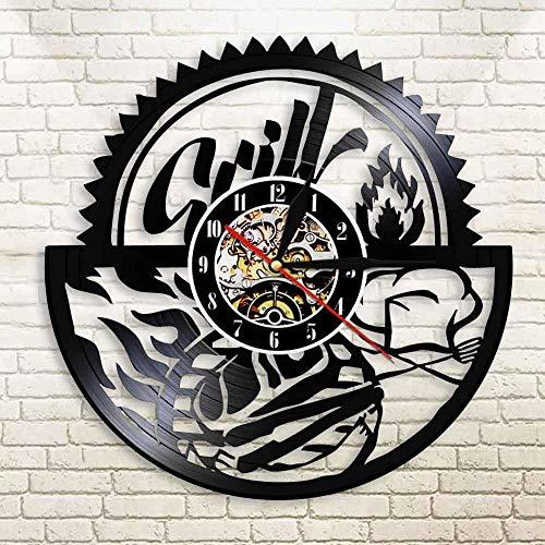 HCPGZ Gril Grillparty Laser Cut Saat Vintage Vinyl Lp Led Rekord Wanduhr Uhr Grill Kreative Horloge Foodie Einweihungsparty Decor -