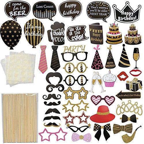 Kreative Partei Bilder Stützen,47 Stück DIY Kits Geburtstagsfeier Foto Stand,Party Lustiger Schnurrbart,Gläser,Kuchen und Zubehör für Geburtstag,Parteien oder andere