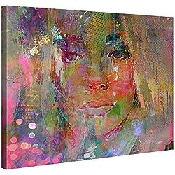 Gallery of Innovative Art Tableau Décoration Murale 100x75cm - Thoughtful Girl - Impression sur Toile XXL Tendue sur 2cm Châssis en Bois - Déco Salon Contemporain - Design par Joe Ganech