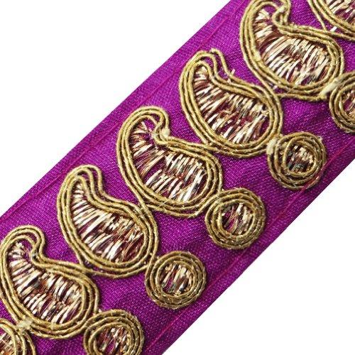 Paisley Magenta Trim geflochtenes Gewebe-Klebeband Quilt Kleidung Sari Border Spitze By The Yard (Sari Paisley)