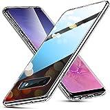 ESR Coque pour Samsung Galaxy S10 Silicone, Protection Transparente avec Revêtement Arrière en Verre Trempé, Bords Couvrants en Silicone TPU Souple pour Galaxy S10 (Série Crystal, Transparent)