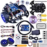 Quimat Smart Robot Car Kit Compatible with ArduinoIDE, Robot con R3 Board,Tutorial Instruction,Link Tracking Module, Ultrasonic Sensor and Bluetooth Remote Control, More Intelligent and Education