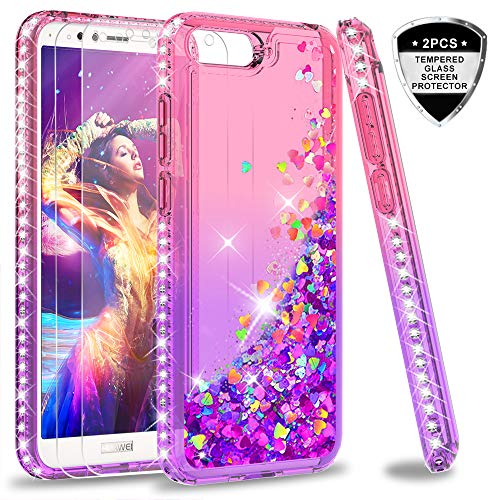 LeYi Hülle Huawei Y6 2018 Glitzer Handyhülle mit Panzerglas Schutzfolie(2 Stück), Diamond Cover Bumper Schutzhülle für Case Huawei Y6 2018 Handy Hüllen ZX Gradient Pink Purple