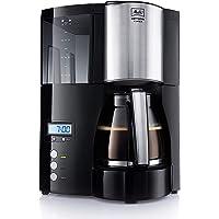 Melitta Optima Timer 100801 Macchina da Caffè Americano a Filtri con Timer e Caraffa in Vetro, Nera, Acciaio Inox, 1,2L