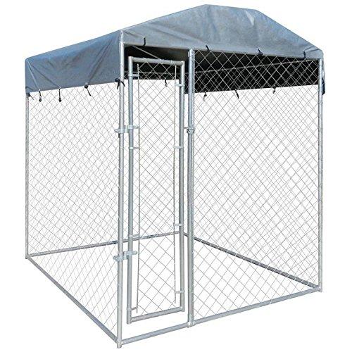 WT Trade Premium Hundezwinger für Draußen mit Dach und Tür | 200x200x235cm | Hundehütte Hundekäfig Sonnendach Hundehaus Hütte | hochbelastbar außen Auslauf