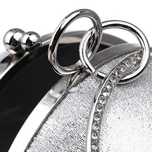 Abbigliamento Casual Rotondo Spalla Sacchetto Del Messaggero Bello Borse Le Donne Il Sacchetto Del Pranzo Silver
