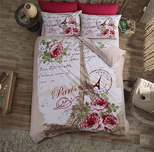 Französisch Blumenmuster Wörter Eiffelturm pink beige Baumwollgemisch King Size ( uni silbergrau passendes Leintuch - 152 x 200cm + 25) 4-tlg. Bettwäsche Set