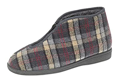 Mens Zip Boot Slippers with Warm Pile Lining Amazoncouk Shoes