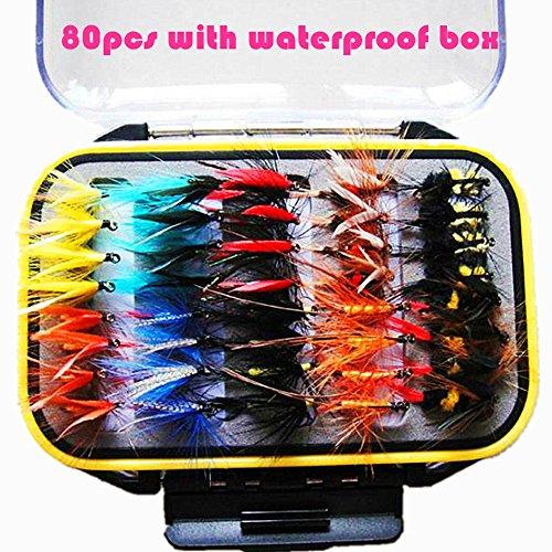 80pcs Fliegenfischen Sortiment handgebunden Fliegen Forellen Köder Angel Imitate Kunstköder Saibling mit Wasserdichte Box