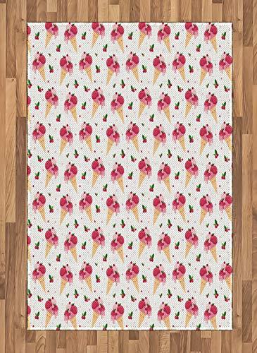 ABAKUHAUS EIS Teppich, Schmelzendes Cranberry Top, Deko-Teppich Digitaldruck, Färben mit langfristigen Halt, 120 x 180 cm, Pfirsich Grün Rosa - Cranberry Farbe Teppich