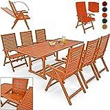 Deuba® 6+1 Sitzgarnitur Unikko | Eukalyptusholz inkl. 6 Auflagen orange | Sitzgruppe Essgruppe Tischgruppe Garten Möbel Set