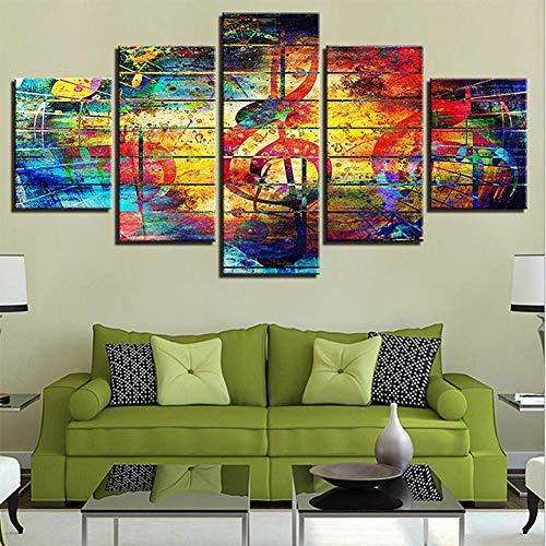 YUEER 5 Panels Leinwanddruck Kunst Wandmusik Gemälde Dekor Kunstwerk gerahmt und gestreckt Leinwanddruck für Home Office, Wohnzimmer, Schlafzimmer, Küche, Bad,B,20x35x220x45x220x55x1 -