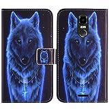 TienJueShi Loup Flip Book-Stand Cuir Housse Coque Etui Cas Couverture Protecteur Case Cover Skin pour Wieppo E1 5.5 inch