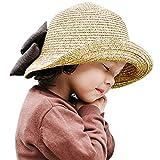 CHIC-CHIC Chapeau Capeline d'été Printemps Fille Enfant Bébé Protection Soleil Nœud Papillon Pliage Voyage Plage Beach (48-54cm, Beige)