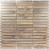 Mosaikfliesen Loures Holzoptik Braun | Wandfliesen | Mosaik-Fliesen | Glas-Mosaik | Fliesen-Bordüre | Ideal für die Küche und Badezimmer (auch als Muster erhältlich)