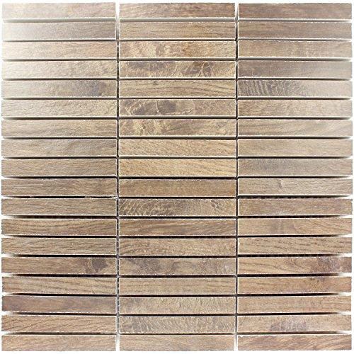 Mosaikfliesen Loures Holzoptik Braun | Wandfliesen | Mosaik-Fliesen | Glas-Mosaik | Fliesen-Bordüre | Ideal für die Küche und Badezimmer (auch...