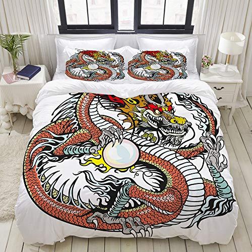 Pengtu set biancheria da letto,creatura del cinese tradizionale che tiene una grande perla segno zodiacale folk tattoo graphic,copripiumino matrimoniale 140 x 200 cm e 2 federe 50 x 80 cm,microfibra